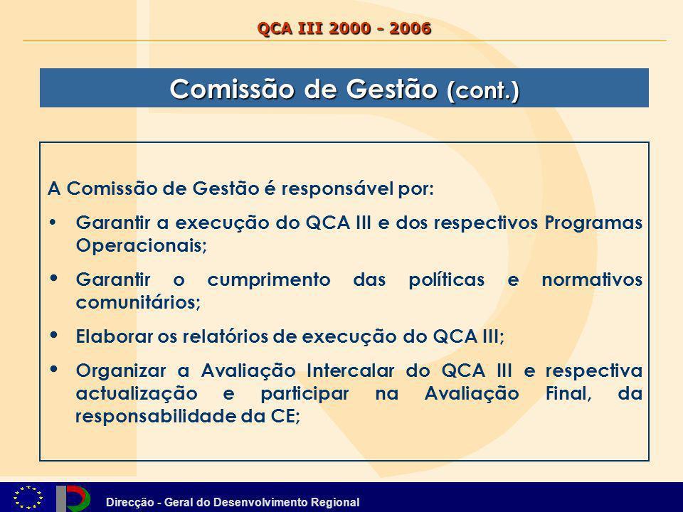 Direcção - Geral do Desenvolvimento Regional QCA III 2000 - 2006 A Comissão de Gestão é responsável por: Garantir a execução do QCA III e dos respecti