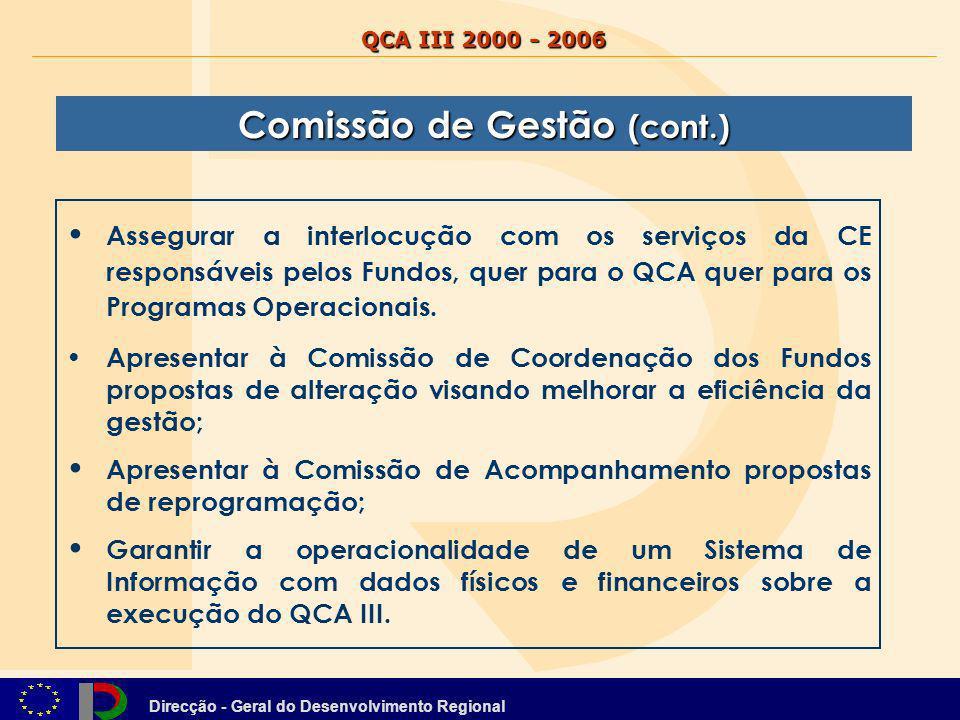 Direcção - Geral do Desenvolvimento Regional QCA III 2000 - 2006 Assegurar a interlocução com os serviços da CE responsáveis pelos Fundos, quer para o