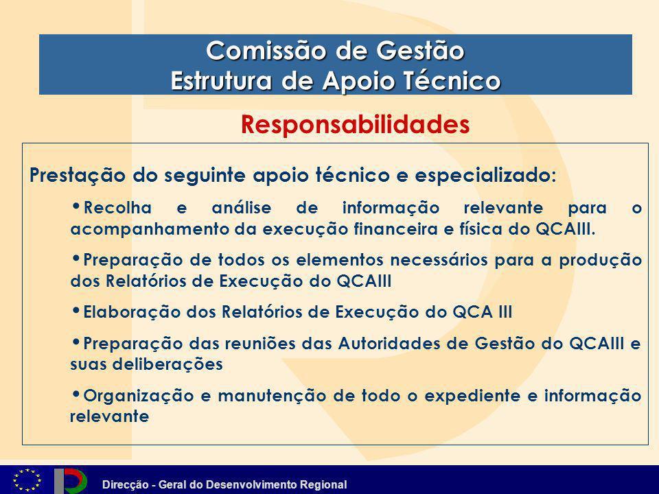 Direcção - Geral do Desenvolvimento Regional Comissão de Gestão Estrutura de Apoio Técnico Prestação do seguinte apoio técnico e especializado: Recolh