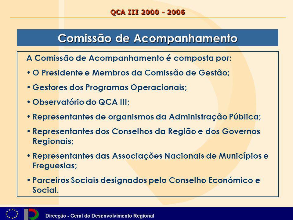 Direcção - Geral do Desenvolvimento Regional QCA III 2000 - 2006 Comissão de Acompanhamento A Comissão de Acompanhamento é composta por: O Presidente