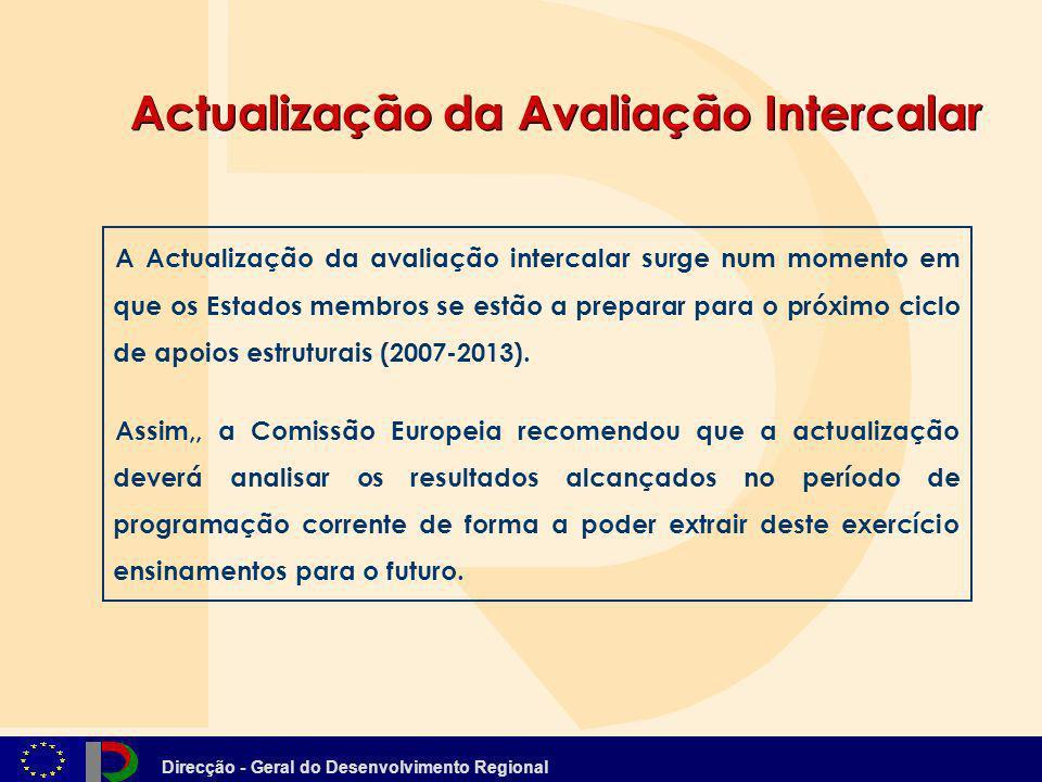 Direcção - Geral do Desenvolvimento Regional Actualização da Avaliação Intercalar A Actualização da avaliação intercalar surge num momento em que os E