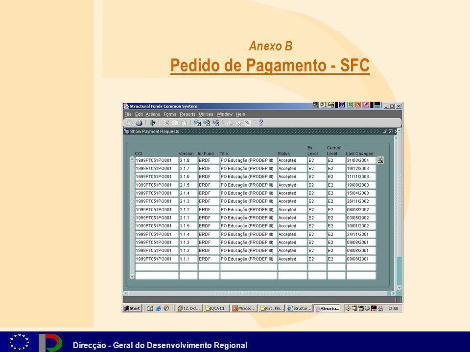 Direcção - Geral do Desenvolvimento Regional Anexo B Pedido de Pagamento - SFC