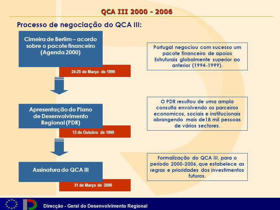 Direcção - Geral do Desenvolvimento Regional Objetivos estratégicos para o período 2000-2006: O QCA III visa enquadrar o conjunto da ajuda estrutural comunitária a Portugal para o período de programação 2000-2006.