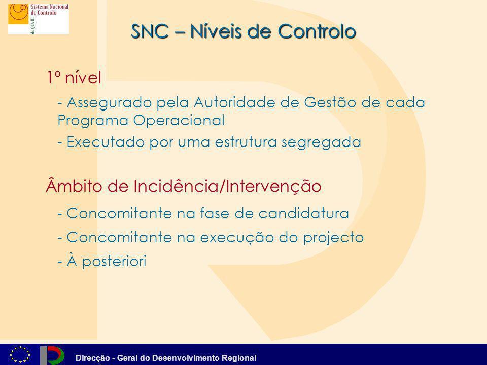 Direcção - Geral do Desenvolvimento Regional SNC – Níveis de Controlo - À posteriori 1º nível - Assegurado pela Autoridade de Gestão de cada Programa