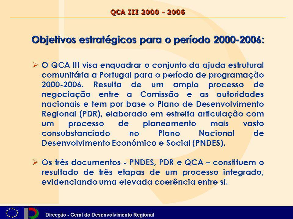 Direcção - Geral do Desenvolvimento Regional Objectivos estratégicos para o período 2000-2006: PNDES-componentes estratégicas fundamentais - no que respeita à inserção económica no espaço europeu e mundial, Portugal deve afirmar-se como fronteira atlântica da Europa ; - no que respeita ao modelo de desenvolvimento económico, Portugal deve privilegiar as actividades, factores de competitividade e as tecnologias mais dinâmicas e estruturantes da economia global, a médio e longo prazos ; - no que respeita à protecção e valorização do património natural, Portugal deve adoptar uma estratégia nacional de conservação da natureza e da biodiversidade ; - no que respeita ao modelo de desenvolvimento social, Portugal deve valorizar a solidariedade e a coesão.