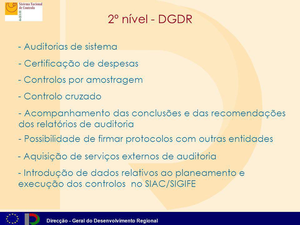 Direcção - Geral do Desenvolvimento Regional 2º nível - DGDR - Controlos por amostragem - Auditorias de sistema - Controlo cruzado - - Introdução de d
