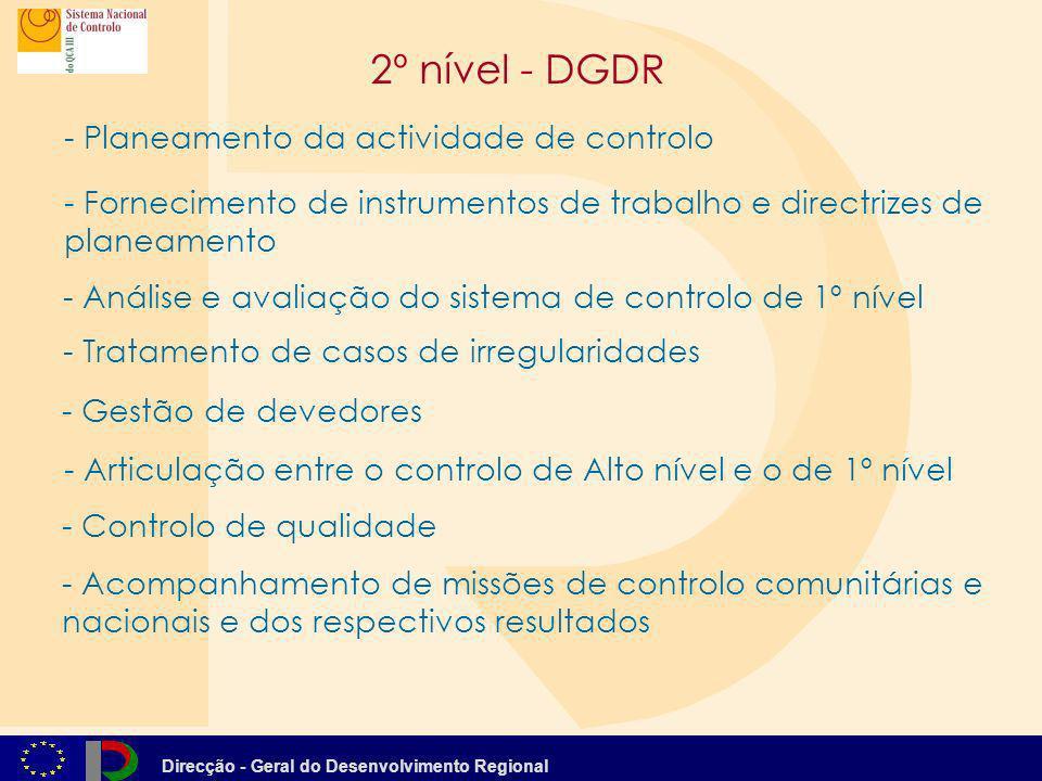 Direcção - Geral do Desenvolvimento Regional - - Acompanhamento de missões de controlo comunitárias e nacionais e dos respectivos resultados - - Gestã