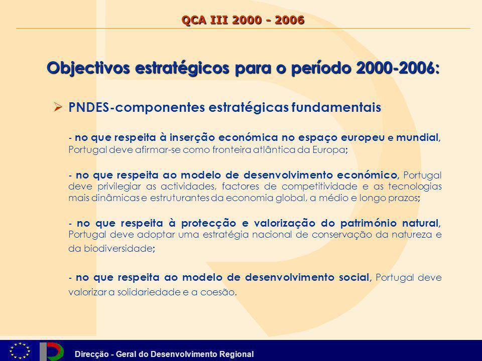 Direcção - Geral do Desenvolvimento Regional Objectivos estratégicos para o período 2000-2006: Elevar o nível de qualificação dos portugueses, promover o emprego e a coesão social Alterar o perfil produtivo em direcção às actividades do futuro Afirmar a valia do território e da posição geoeconómica do país Promover o desenvolvimento sustentável das regiões O QCA adoptou três domínios prioritários de intervenção : a valorização do potencial humano, o apoio à actividade produtiva, e a estruturação do território (Esta visão estratégica enquadra a hierarquia de objectivos do QCA e dos seus programas operacionais, traduzindo-se nos seguintes objectivos estratégicos para o período 2000-2006) QCA III 2000 - 2006