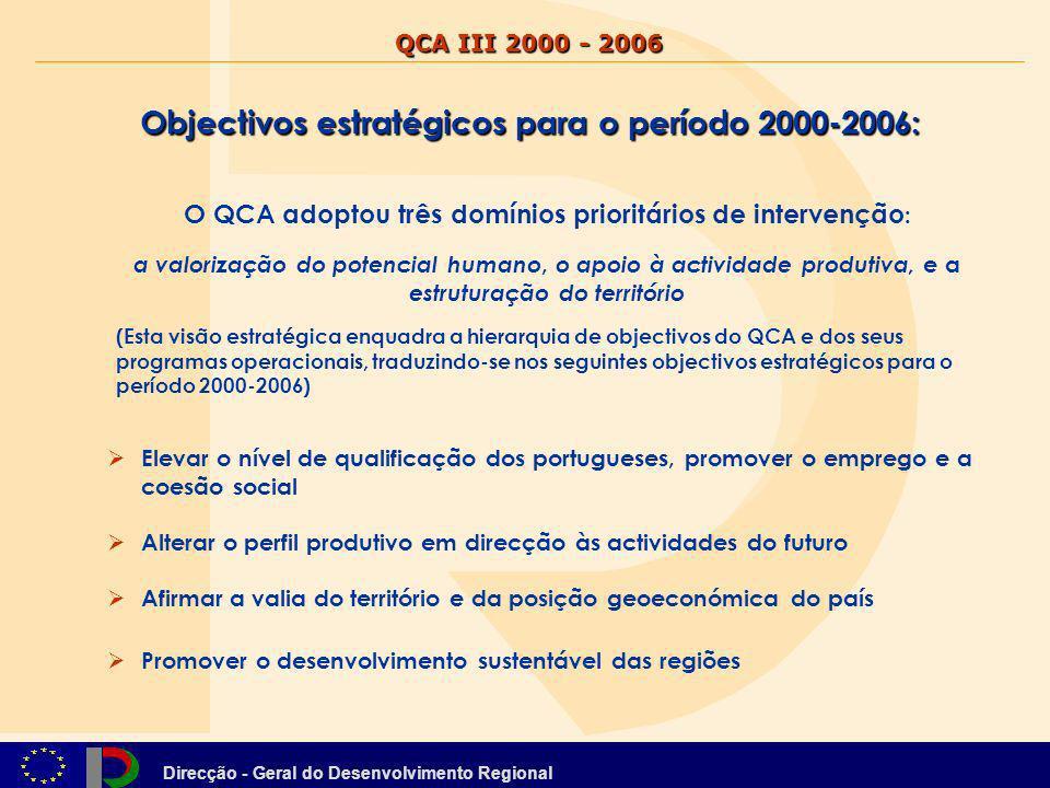 Direcção - Geral do Desenvolvimento Regional A formulação desta estratégia tem como elemento central o tema de coesão com um significado multidimensional: COESÃO SOCIAL associada ao objectivo estratégico Elevar o nível de qualificação dos portugueses, promover o emprego e a coesão social COESÃO ECONÓMICA, associada ao objectivo estratégico Alterar o perfil produtivo em direcção às actividades do futuro COESÃO TERRITORIAL, associada aos objectivos estratégicos Afirmar a valia do território e da posição geoeconómica do país e sobretudo Promover o desenvolvimento sustentável das regiões QCA III 2000 - 2006