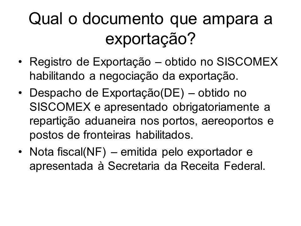 Qual o documento que ampara a exportação? Registro de Exportação – obtido no SISCOMEX habilitando a negociação da exportação. Despacho de Exportação(D