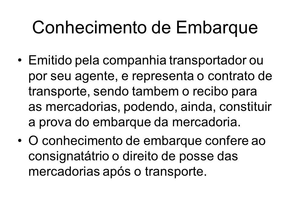 Conhecimento de Embarque Emitido pela companhia transportador ou por seu agente, e representa o contrato de transporte, sendo tambem o recibo para as