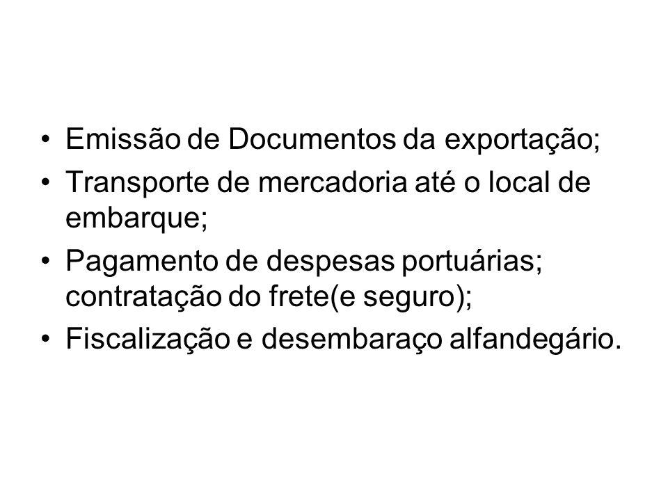 Emissão de Documentos da exportação; Transporte de mercadoria até o local de embarque; Pagamento de despesas portuárias; contratação do frete(e seguro