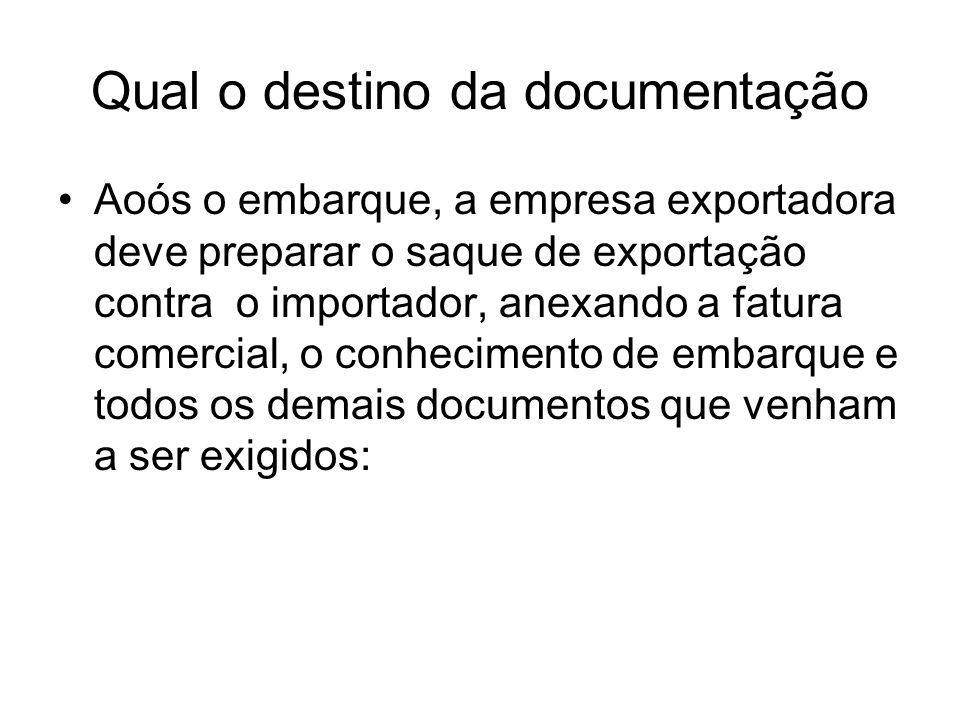 Qual o destino da documentação Aoós o embarque, a empresa exportadora deve preparar o saque de exportação contra o importador, anexando a fatura comer