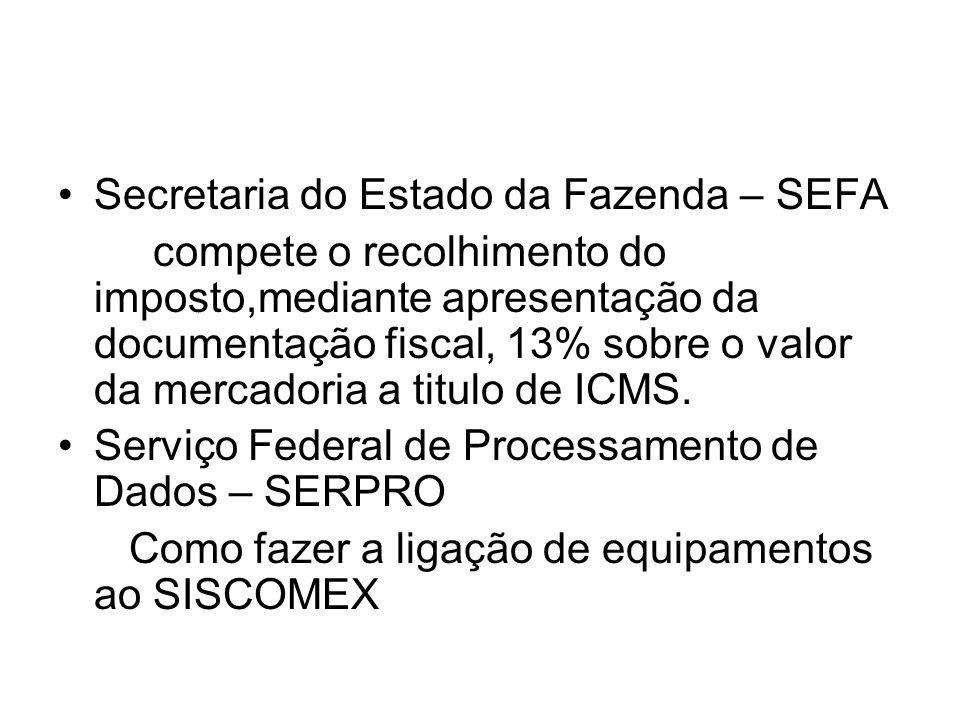 Secretaria do Estado da Fazenda – SEFA compete o recolhimento do imposto,mediante apresentação da documentação fiscal, 13% sobre o valor da mercadoria