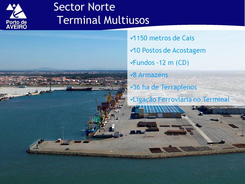 Sector Norte Terminal Multiusos 1150 metros de Cais 10 Postos de Acostagem Fundos -12 m (CD) 8 Armazéns 36 ha de Terraplenos Ligação Ferroviária no Te