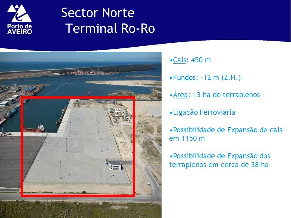 Sector Norte Terminal Ro-Ro Cais: 450 m Fundos: -12 m (Z.H.) Área: 13 ha de terraplenos Ligação Ferroviária Possibilidade de Expansão de cais em 1150