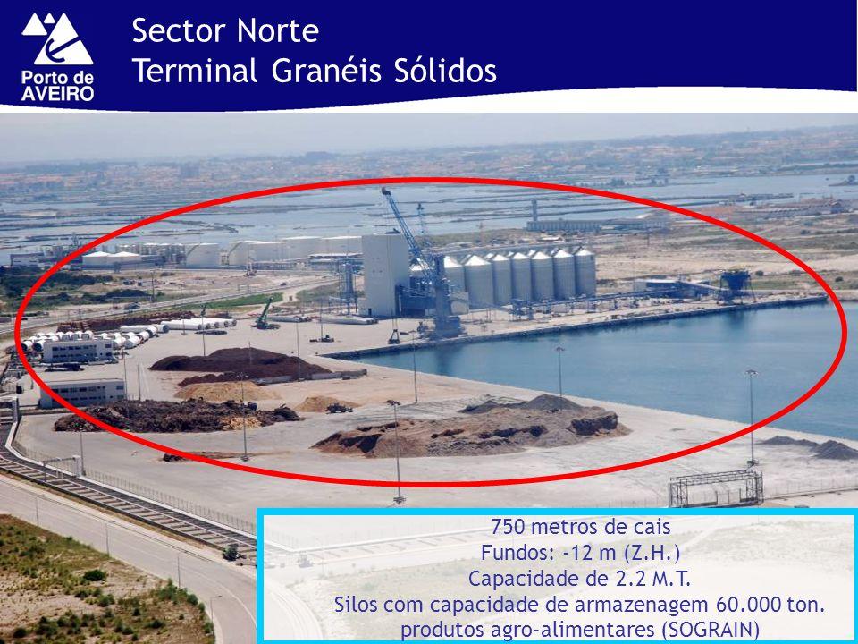 750 metros de cais Fundos: -12 m (Z.H.) Capacidade de 2.2 M.T. Silos com capacidade de armazenagem 60.000 ton. produtos agro-alimentares (SOGRAIN) Sec