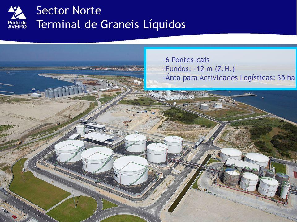 Sector Norte Terminal de Graneis Líquidos -6 Pontes-cais -Fundos: -12 m (Z.H.) -Área para Actividades Logísticas: 35 ha