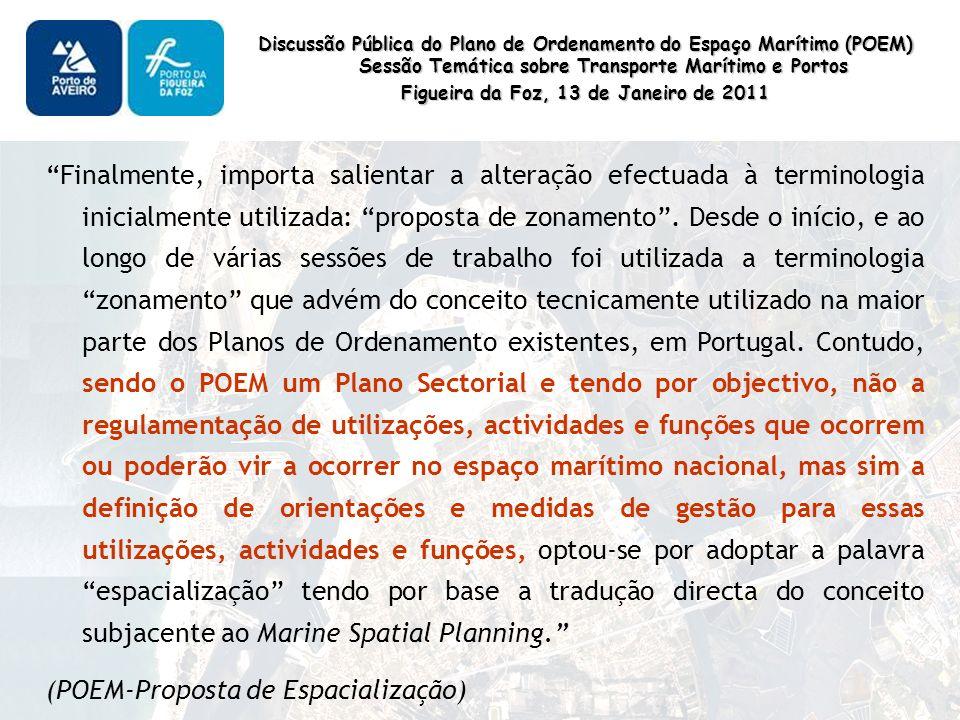 Discussão Pública do Plano de Ordenamento do Espaço Marítimo (POEM) Sessão Temática sobre Transporte Marítimo e Portos Figueira da Foz, 13 de Janeiro de 2011 Finalmente, importa salientar a alteração efectuada à terminologia inicialmente utilizada: proposta de zonamento.