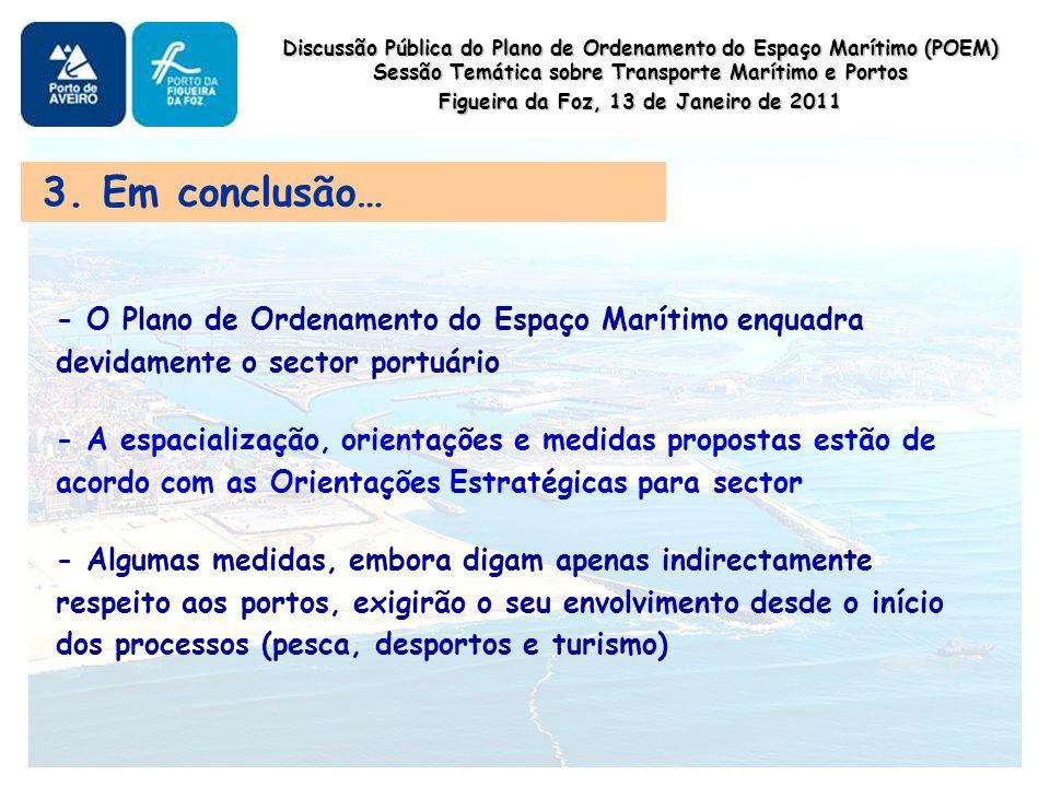 Discussão Pública do Plano de Ordenamento do Espaço Marítimo (POEM) Sessão Temática sobre Transporte Marítimo e Portos Figueira da Foz, 13 de Janeiro de 2011 3.