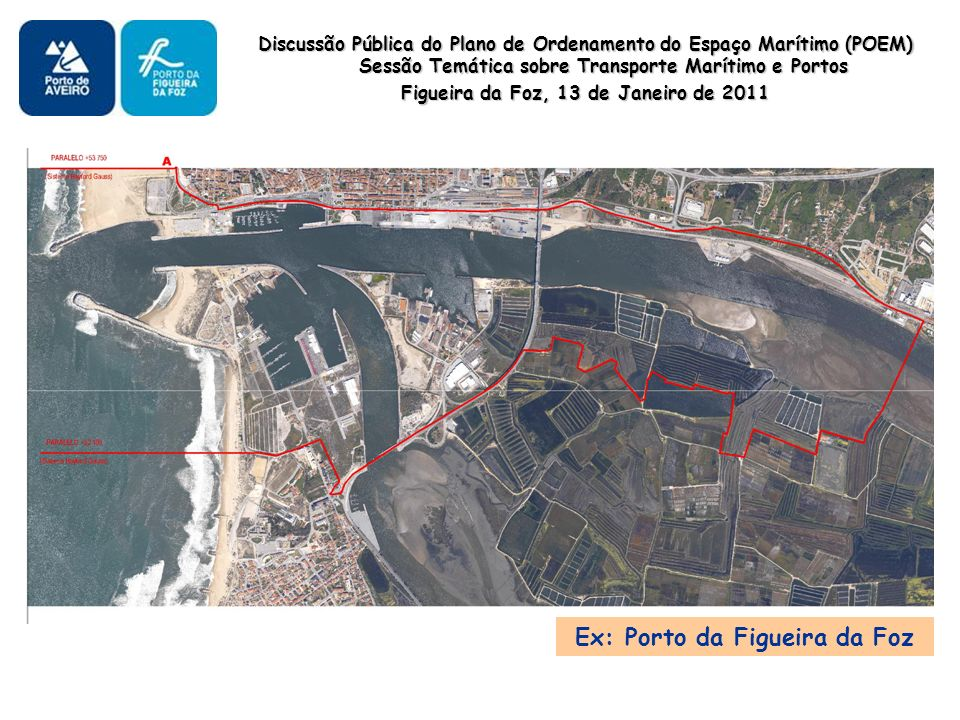 Discussão Pública do Plano de Ordenamento do Espaço Marítimo (POEM) Sessão Temática sobre Transporte Marítimo e Portos Figueira da Foz, 13 de Janeiro de 2011 Ex: Porto da Figueira da Foz