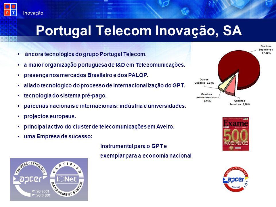 Portugal Telecom Inovação, SA âncora tecnológica do grupo Portugal Telecom. a maior organização portuguesa de I&D em Telecomunicações. presença nos me