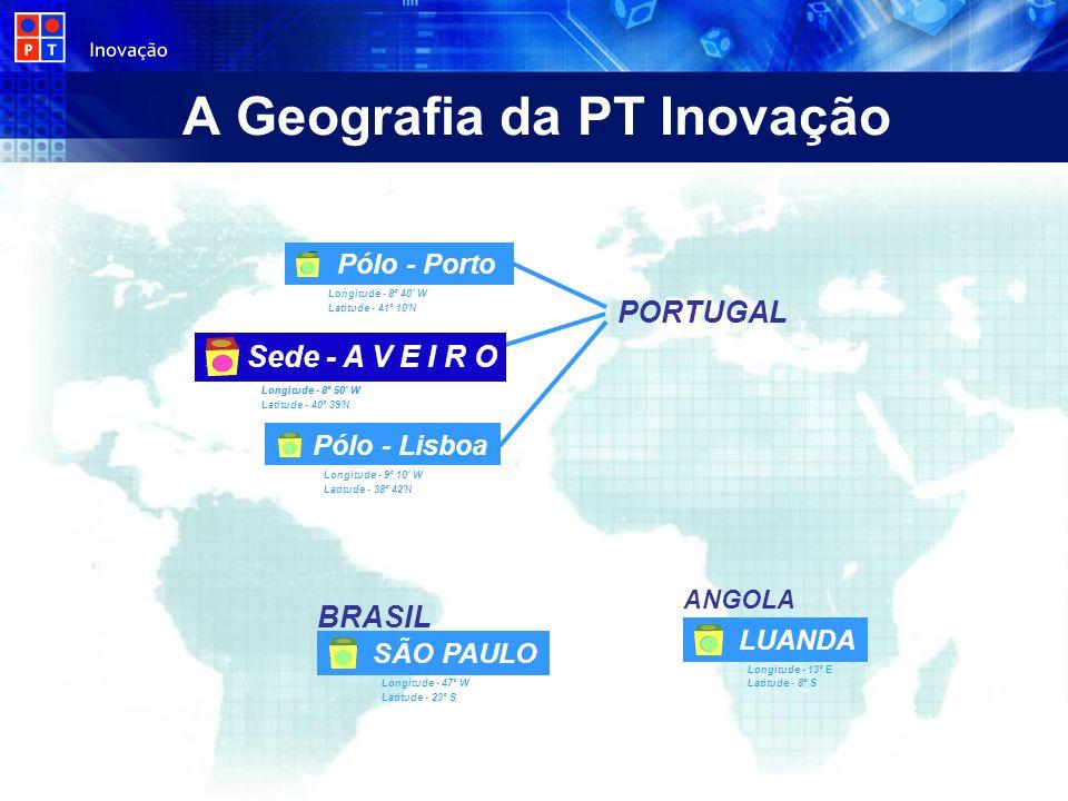 A Geografia da PT Inovação PORTUGAL Longitude - 9º 10' W Latitude - 38º 42'N Longitude - 8º 40' W Latitude - 41º 10'N Longitude - 8º 50' W Latitude -