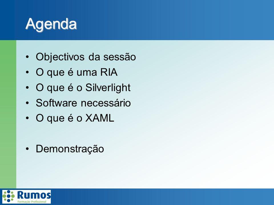 Agenda Objectivos da sessão O que é uma RIA O que é o Silverlight Software necessário O que é o XAML Demonstração