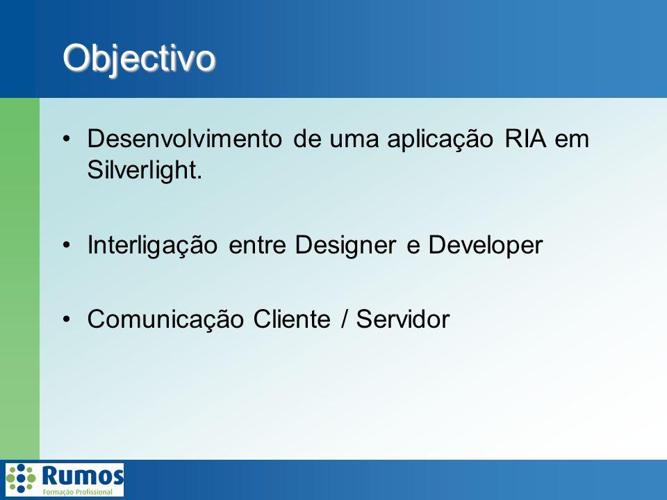 Desenvolvimento de uma aplicação RIA em Silverlight.