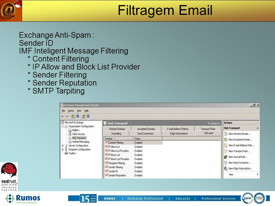 Filtragem Email Exchange Anti-Spam : Sender ID IMF Inteligent Message Filtering * Content Filtering * IP Allow and Block List Provider * Sender Filter