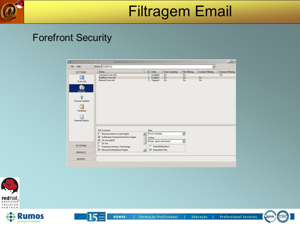 Filtragem Email Forefront Security