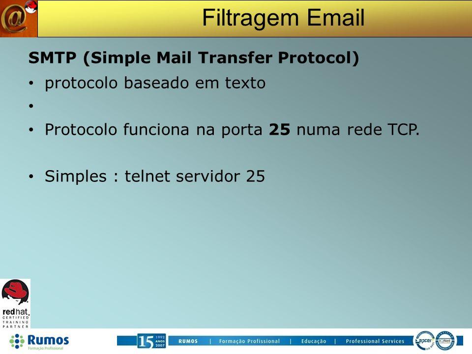 Filtragem Email Exemplo de uma sessão SMTP telnet smpt.dominio.pt 25 S: 220 smtp.dominio.pt ESMTP Postfix C: HELO dominio2.pt S: 250 Hello dominio2.pt C: MAIL FROM: remetente@dominio2.pt S: 250 Ok C: RCPT TO: destinatario@dominio.pt S: 250 Ok C: DATA S: 354 End data with.