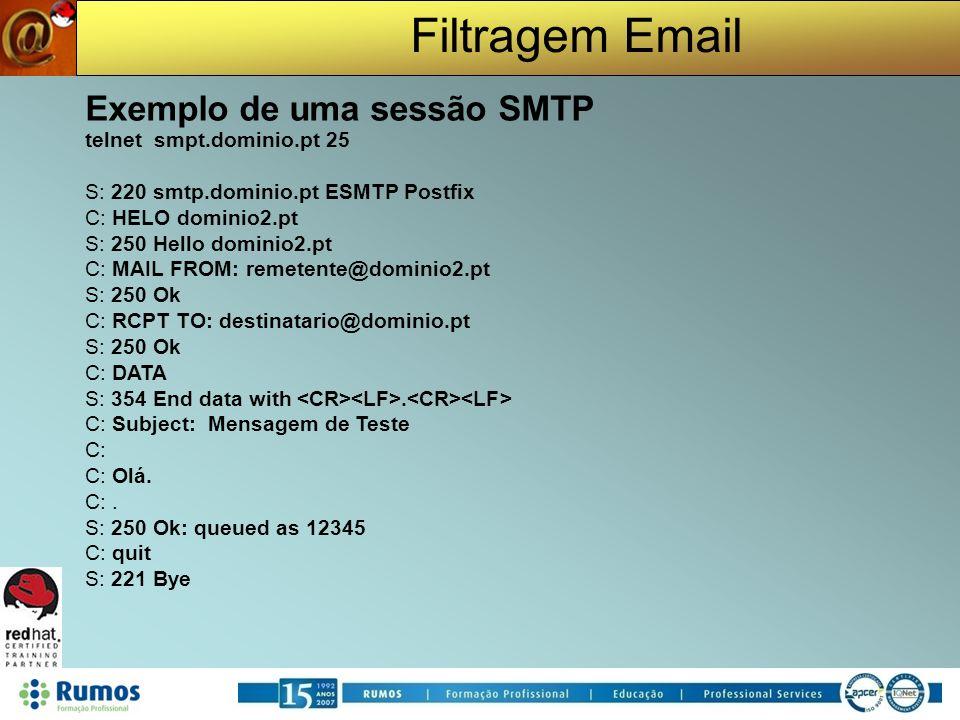 Filtragem Email Exemplo de uma sessão SMTP telnet smpt.dominio.pt 25 S: 220 smtp.dominio.pt ESMTP Postfix C: HELO dominio2.pt S: 250 Hello dominio2.pt