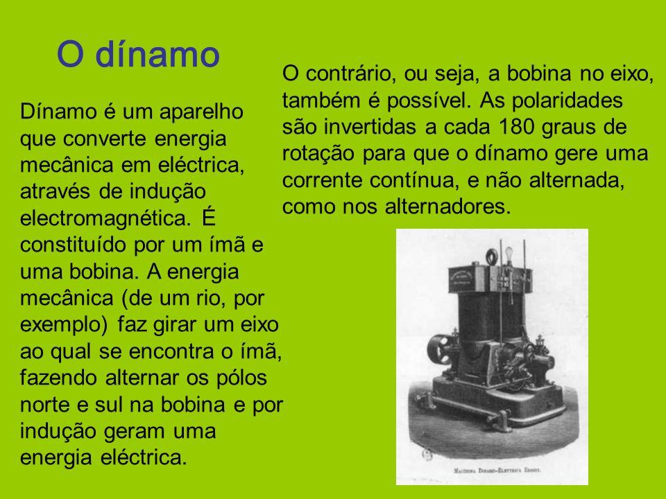 O dínamo Dínamo é um aparelho que converte energia mecânica em eléctrica, através de indução electromagnética. É constituído por um ímã e uma bobina.