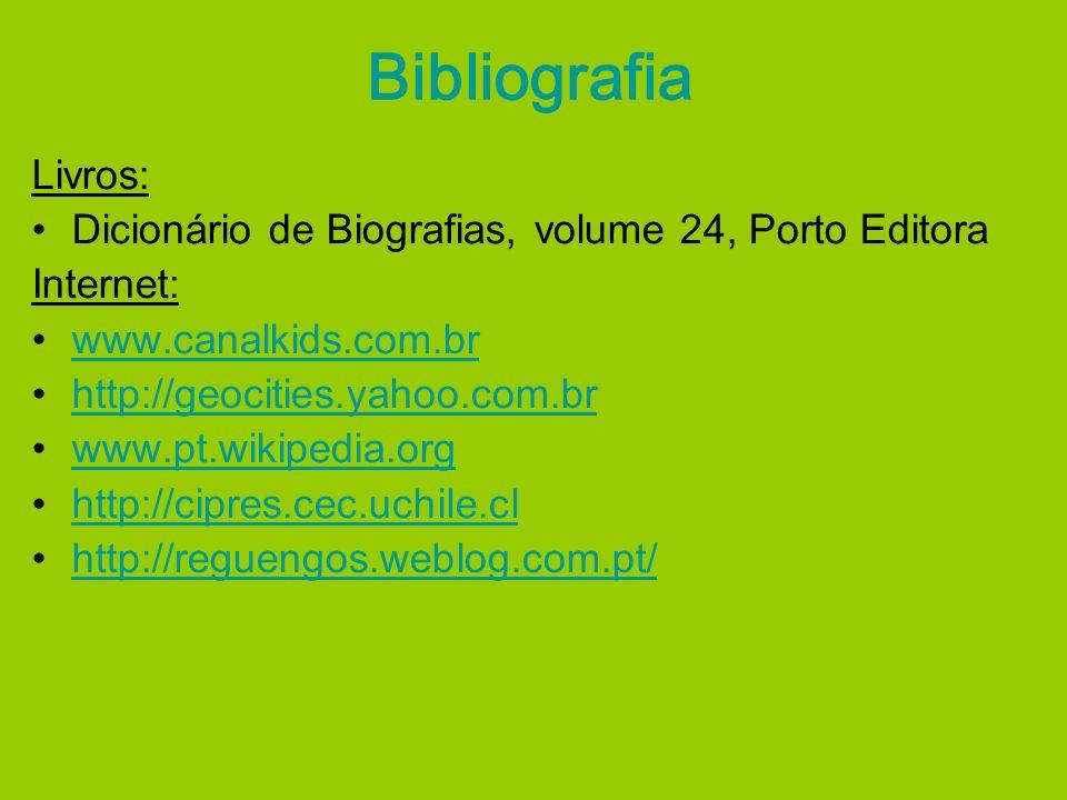 Bibliografia Livros: Dicionário de Biografias, volume 24, Porto Editora Internet: www.canalkids.com.br http://geocities.yahoo.com.br www.pt.wikipedia.