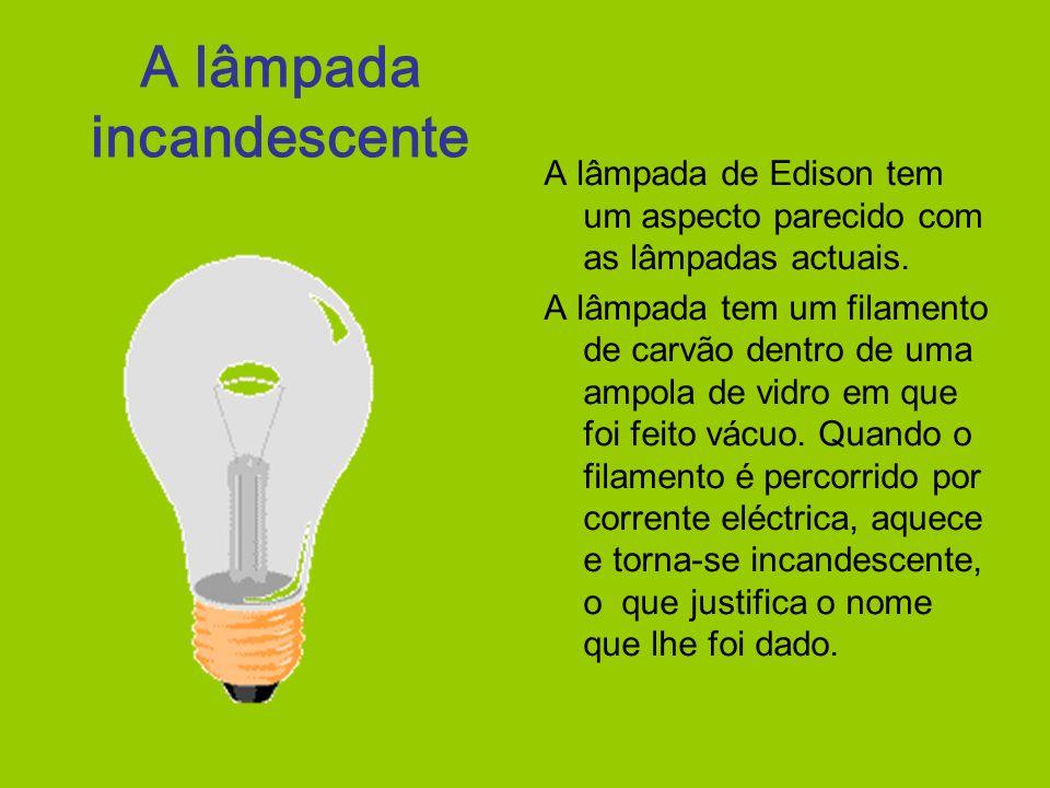 A lâmpada incandescente A lâmpada de Edison tem um aspecto parecido com as lâmpadas actuais. A lâmpada tem um filamento de carvão dentro de uma ampola