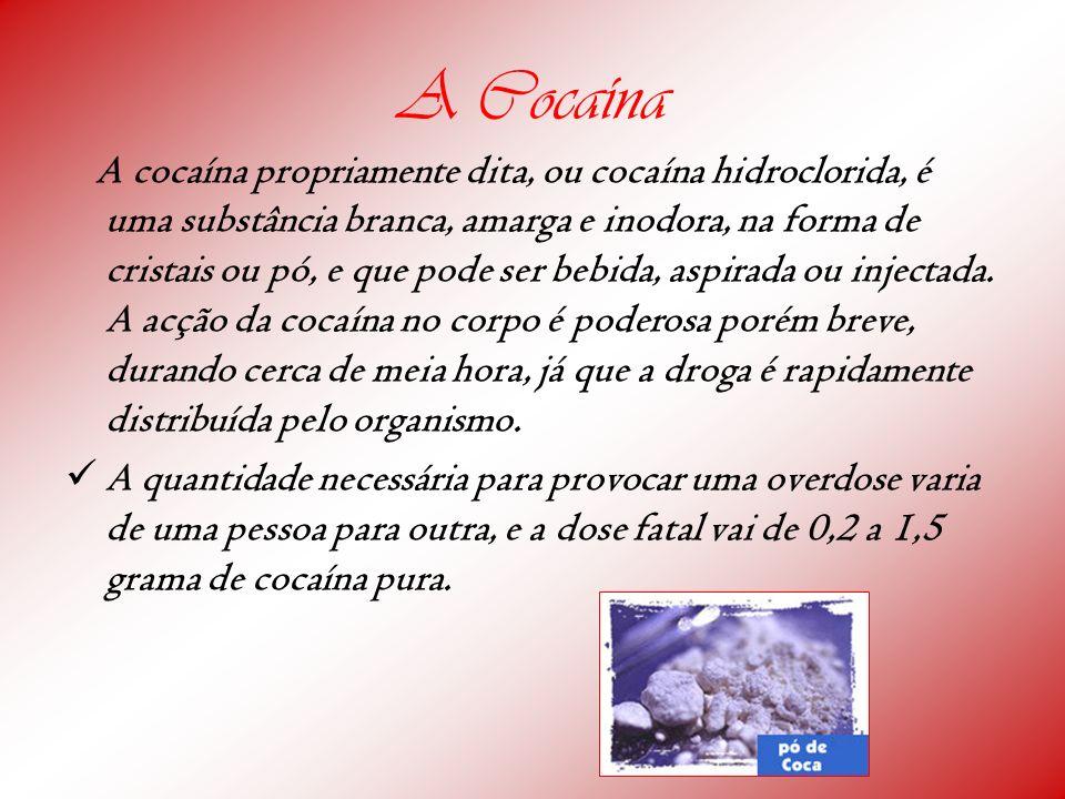 A Cocaína A cocaína propriamente dita, ou cocaína hidroclorida, é uma substância branca, amarga e inodora, na forma de cristais ou pó, e que pode ser