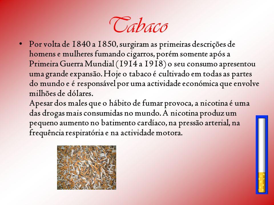 Tabaco Por volta de 1840 a 1850, surgiram as primeiras descrições de homens e mulheres fumando cigarros, porém somente após a Primeira Guerra Mundial