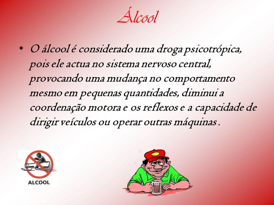 Álcool O álcool é considerado uma droga psicotrópica, pois ele actua no sistema nervoso central, provocando uma mudança no comportamento mesmo em pequ