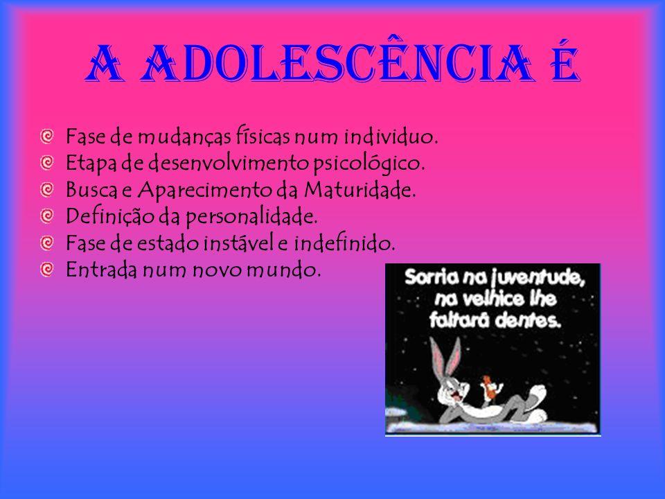 A ADOLESCÊNCIA é Fase de mudanças físicas num individuo. Etapa de desenvolvimento psicológico. Busca e Aparecimento da Maturidade. Definição da person