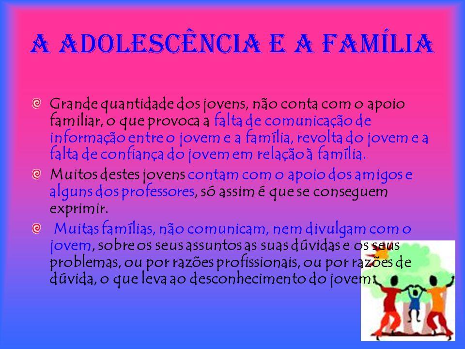 A adolescência e a Família Grande quantidade dos jovens, não conta com o apoio familiar, o que provoca a falta de comunicação de informação entre o jo