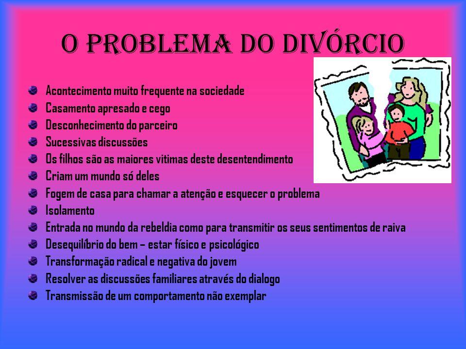 O Problema do Divórcio Acontecimento muito frequente na sociedade Casamento apresado e cego Desconhecimento do parceiro Sucessivas discussões Os filho