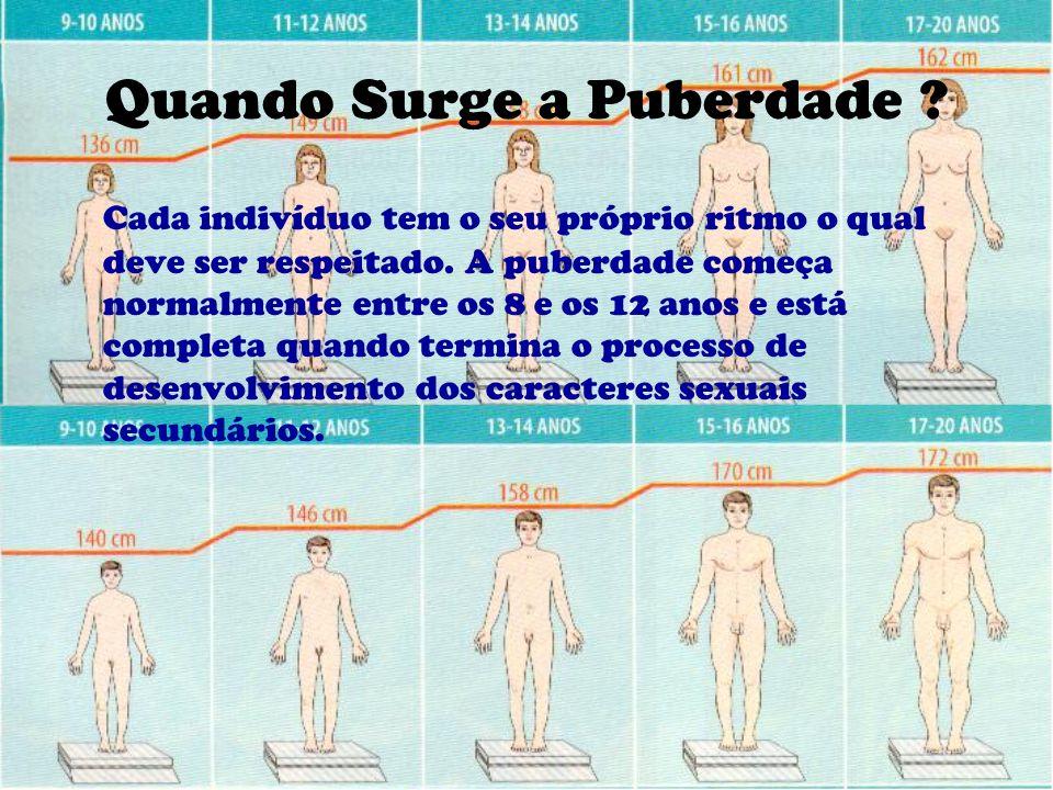 Quando Surge a Puberdade ? Cada indivíduo tem o seu próprio ritmo o qual deve ser respeitado. A puberdade começa normalmente entre os 8 e os 12 anos e