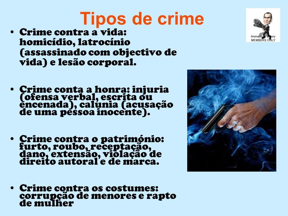 Tipos de crime Crime contra a vida: homicídio, latrocínio (assassinado com objectivo de vida) e lesão corporal. Crime conta a honra: injuria (ofensa v