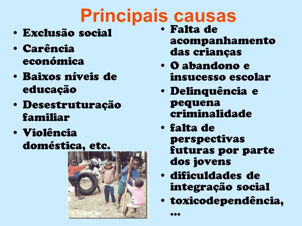 Principais causas Exclusão social Carência económica Baixos níveis de educação Desestruturação familiar Violência doméstica, etc. Falta de acompanhame
