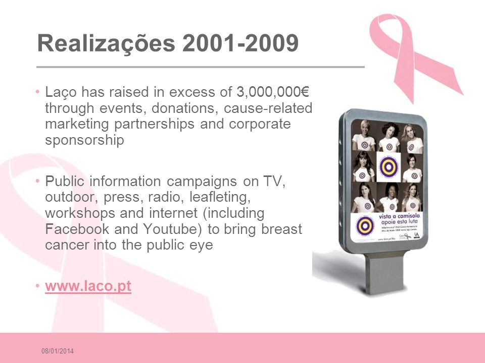 08/01/2014 Realizações 2001-2009 Laço has raised in excess of 3,000,000 through events, donations, cause-related marketing partnerships and corporate