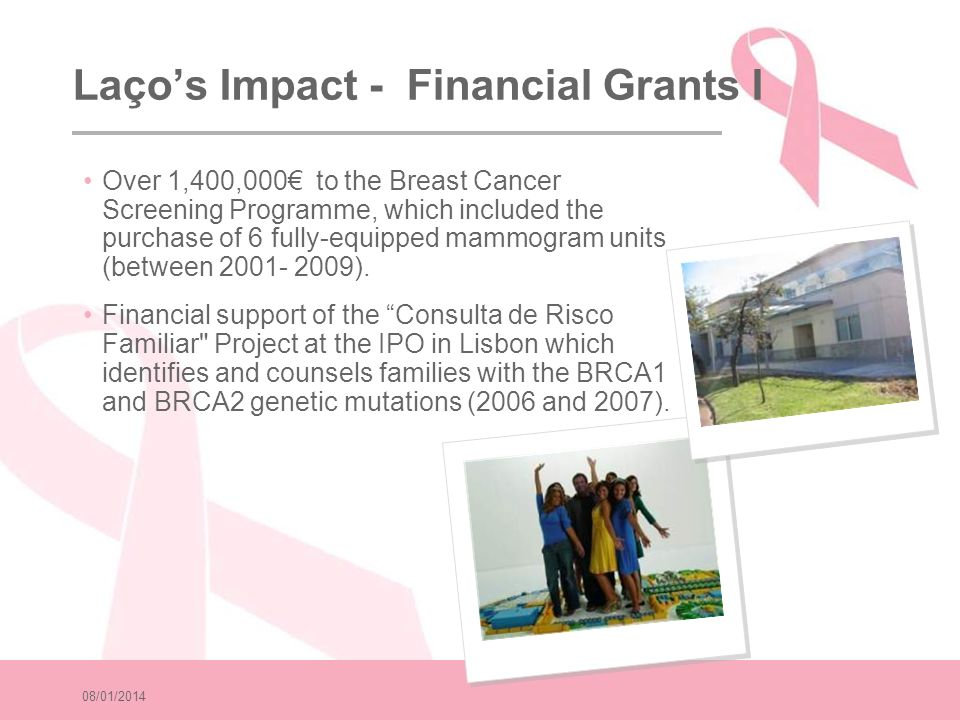 08/01/2014 Laços Impact - Financial Grants II In 2007, Laço donated 375,000 to the Hospital de S.