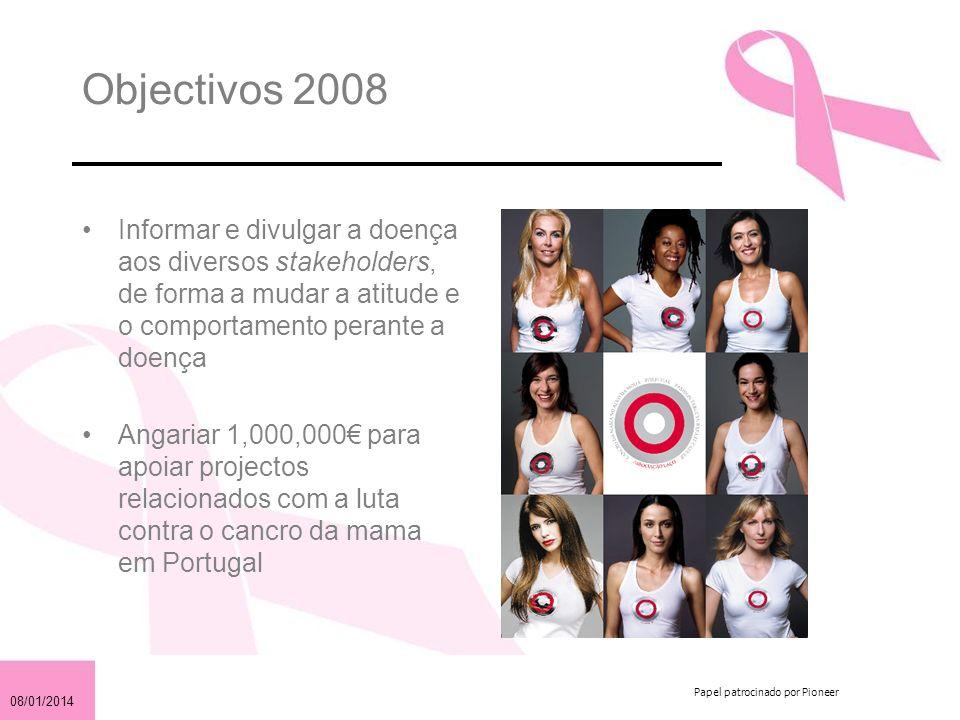 08/01/2014 Papel patrocinado por Pioneer Objectivos 2008 Informar e divulgar a doença aos diversos stakeholders, de forma a mudar a atitude e o comportamento perante a doença Angariar 1,000,000 para apoiar projectos relacionados com a luta contra o cancro da mama em Portugal