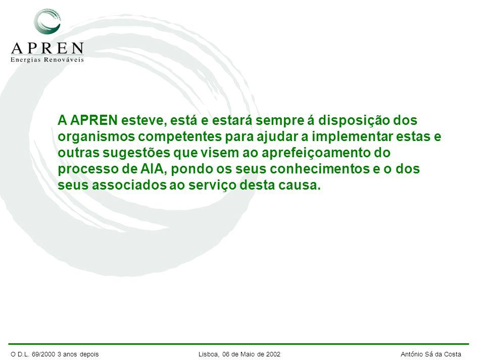 O D.L. 69/2000 3 anos depois Lisboa, 06 de Maio de 2002 António Sá da Costa A APREN esteve, está e estará sempre á disposição dos organismos competent
