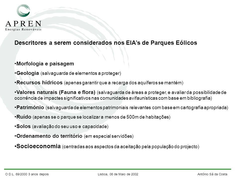 O D.L. 69/2000 3 anos depois Lisboa, 06 de Maio de 2002 António Sá da Costa Descritores a serem considerados nos EIAs de Parques Eólicos Morfologia e